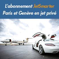 Liaisons régulières<br>en jet privé<br>«JetShuttle™»<br>par JetSmarter<br>entre Paris et Genève