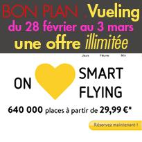 Vueling<br>640000 places<br>à partir de 29,99€<br>jusqu'au 3 mars