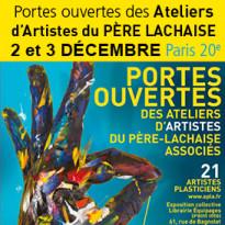 Portes ouvertes<br>2 et 3 decembre<br>Ateliers d'Artistes<br>du Pere Lachaise<br>Associees