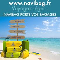 Finie la corvée des bagages,<br>Voyagez léger,<br> Navibag porte vos bagages