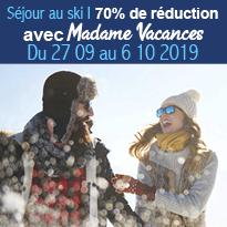 Le bon plan ski<br>à 70% de réduction<br>avec Madame<br>Vacances
