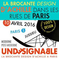 10 avril 2016<br>la Brocante Design<br>d'Achille<br>dans les rues de Paris (05)