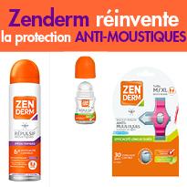 Nouveau<br>Roll-on, lingettes, bracelets...<br>ZENDERM<br>réinvente la protection<br>anti-moustiques