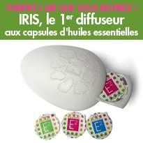 IRIS<br>le premier diffuseur<br>aux capsules<br>d'huiles essentielles