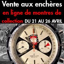 Montres de collection<br>Vente aux enchères<br>en ligne<br>du 21 au 26 avril<br>Artebellum