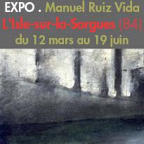 L'Isle-sur-la-Sorgues(84)<br>Le peintre<br>Manuel Ruiz Vida<br>expose ses œuvres<br>au Centre d'Art Campredon<br>