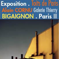 Exposition<br>Toits de Paris<br>Alain CORNU<br>Galerie Thierry BIGAIGNON<br>9/11 au 24/12/2016