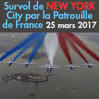 Le 25 mars dernier<br>Survol<br>de New York City<br>par la Patrouille<br>de France