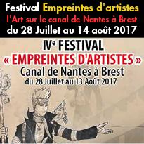 Du 28 Juillet<br>au 14 août 2017<br>Festival Empreintes<br>d'artistes l'Art<br>sur le canal<br>de Nantes à Brest