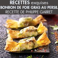Bonbon de foie gras au persil<br>à déguster à deux<br>de Philippe Garret<br>pour Delpeyrat