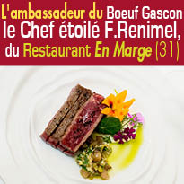 Le boeuf gascon<br>à l'honneur<br>sur la carte du restaurant<br>En Marge<br>Aureville (31)