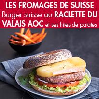 Burger suisse<br>au Raclette du Valais AOC <br>frites de patates douces