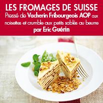 Pressé de Vacherin Fribourgeois AOP <br>aux noisettes <br>et crumble aux sablés