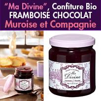 MA DIVINE<br>nouvelle confiture <br> framboise chocolat<br>MUROISE ET COMPAGNIE