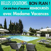 Bons plans<br>Cet été<br>frais d'essence<br>remboursés<br>avec Madame Vacances