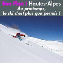 Au printemps,<br>le ski<br>c'est plus que permis<br>dans les Hautes-Alpes !