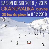 SAISON DE SKI<br>2018 / 2019<br>GRANDVALIRA