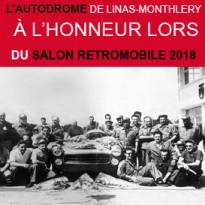 """""""LES GRANDES HEURES<br>DE L'AUTODROME""""<br>SALON RETROMOBILE<br>du 7 au 11 février 2018"""