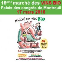 Samedi 17 mars 2018<br>le 16ème<br>Marché aux vins bios<br>de Montreuil