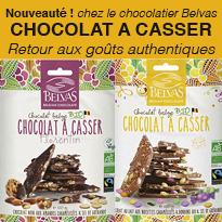 Nouveau<br>Chocolats<br>à casser<br>Belvas Bio