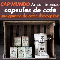 CAP'MUNDO<br>La 1er gamme de capsules<br>100% biodégradables et compostables<br>compatibles Nespresso®.