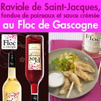 Raviole de Saint-Jacques<br>fondue de poireaux<br>et sauce crémée<br>au Floc de Gascogne blanc