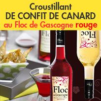 Croustillant<br>de Confit de Canard<br>au Floc de Gascogne rouge