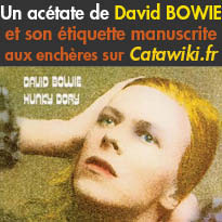 L'unique exemplaire<br>acétate<br>de « Hunky Dory »<br>aux enchères sur Catawiki.fr