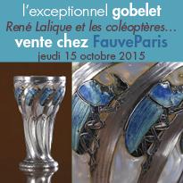 Le 15 octobre<br>Vente chez FauveParis<br>gobelet de René Lalique