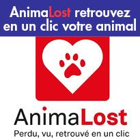 AnimaLost<br>retrouvez<br>votre animal<br>en 1 clic