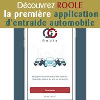 ROOLE<br>la première<br>application<br>d'entraide<br>automobile