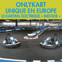 Nouveau<br>Onlykart<br>le karting électrique « indoor »<br>Près de Lyon