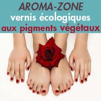 Des vernis 85%<br>d'origine végétale<br>aux pigments<br>végétaux<br>AROMA-ZONE
