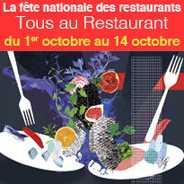 La fête nationale<br>des restaurants<br>du 1er octobre<br>au 14 octobre 2018