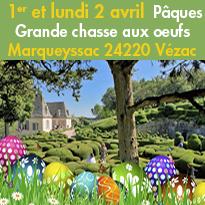 Pâques<br>Grande chasse<br>aux oeufs<br>Marqueyssac