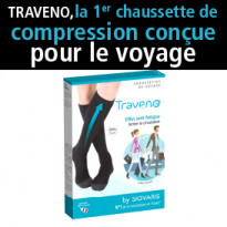 Nouveau<br>la première chaussette<br>de compression<br>conçue<br>pour le voyage
