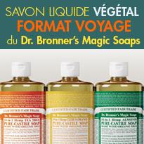 Indispensable<br>le savon liquide Dr. Bronner's<br>au format voyage