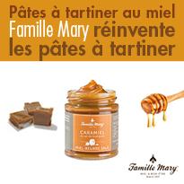 Nouveau<br>pâtes à tartiner<br>au miel<br>famille Mary