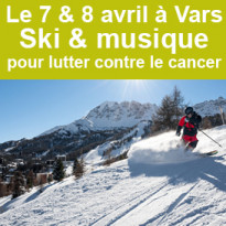 le 7 & 8 avril<br>Ski & musique<br>pour lutter<br>contre le cancer